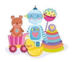 orsacchiotto, robot, anatra, sonaglio e piramide