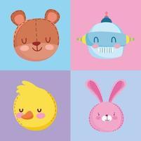 facce di orso, coniglio, anatra e robot dei cartoni animati