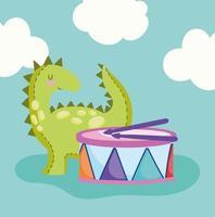 cartone animato piccolo dinosauro e tamburo musicale