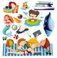 set di icone di spiaggia estiva in stile cartone animato vettore