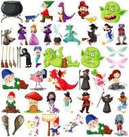 personaggi e tema fantasy isolati su sfondo bianco vettore