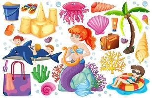 set di icone di spiaggia estiva e stile cartoon sirena vettore