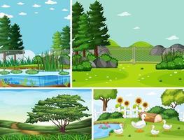 quattro diverse scene in natura in stile cartone animato