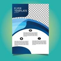 modello di volantino aziendale di forma astratta blu e bianco