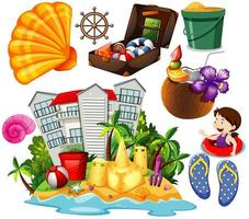 set di icone di stile cartone animato spiaggia estiva