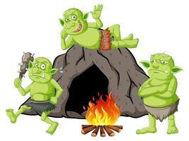 goblin o troll con casa grotta e fuoco da campo