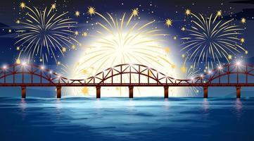scena del fiume con fuochi d'artificio di celebrazione