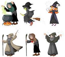 mago in stile cartone animato e streghe con strumenti magici vettore