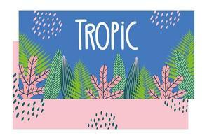 banner colorato di foglie tropicali