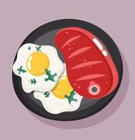 cena di cibo nel piatto. bistecca di manzo e uova fritte