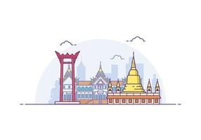 Illustrazione gratis di paesaggio urbano di Bangkok vettore