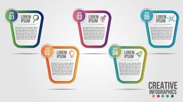 design moderno della timeline in 5 fasi