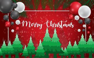 disegno di Natale con palloncini e alberi
