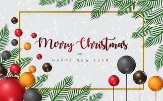 disegno di Natale con rami e palloncini colorati