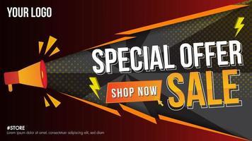 banner di vendita di offerta speciale con megafono vettore