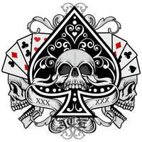 teschi con carte da gioco e vanga decorativa vettore