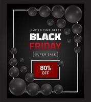 banner di vendita venerdì nero con palloncini neri