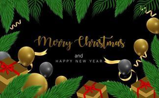 disegno di Natale con cornice di ramo, regalo e palloncino