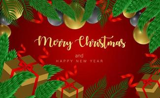 disegno di Natale con regali, palloncini e cornice di rami