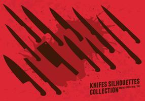 Collezione di sagome di coltelli vettore