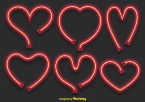 Set di cuori al neon di vettore