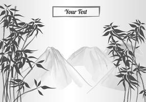 Scena di bambù con inchiostro vettore