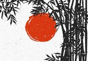 Silhouette di bambù con sole rosso vettore