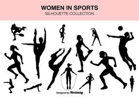 Insieme di vettore delle siluette delle donne di sport