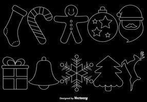 Linea icone di stile di Natale su fondo nero, insieme di vettore