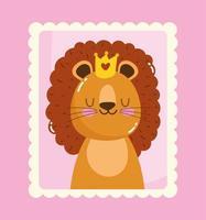 simpatico piccolo leone con corona nel timbro postale