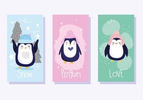 pinguini con cappelli e banner di alberi