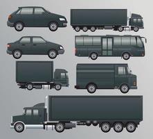 fascio di veicoli da trasporto neri impostare icone vettore
