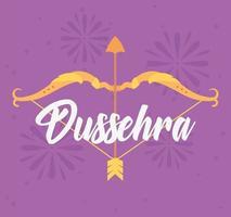felice festival di dussehra. carta con arco e freccia vettore