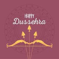 felice festival di dussehra. arco e freccia sul mandala vettore