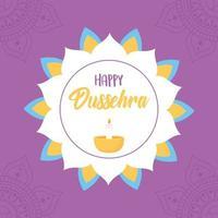 felice festival di dussehra. mandala floreale e lampada diya