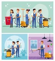 set di lavoratori del team di pulizie