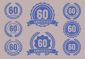 Anniversary Badges 60th Year Celebration vettore
