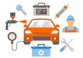Illustrazione di vettore di riparazione e servizio dell'automobile