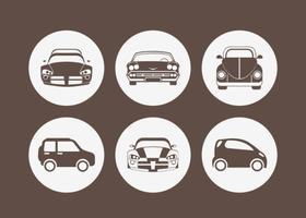 Icone di vettore di sagoma auto