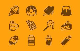 varietà di semplici pacchetti di icone di cioccolato vettore