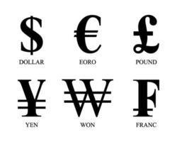 simboli di valuta più utilizzati vettore