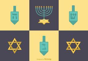Icone di Hanukkah piatte vettoriali gratis