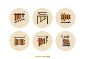 Icone vettoriali gratis linea piatta Marimba