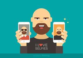 Uomo che mostra l'illustrazione di vettore di Selfies