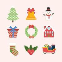 collezione di icone colorate oggetti natalizi vettore