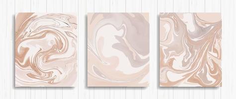 set di carte astratte in marmo marrone chiaro vettore