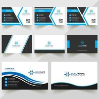 set design biglietto da visita blu, bianco e nero