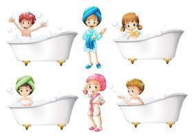 set di tempo per il bagno dei bambini vettore