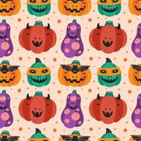 zucche spettrali in costumi halloween seamless pattern