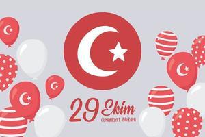 festa della repubblica della turchia. bandiera rotonda e carta di palloncini vettore